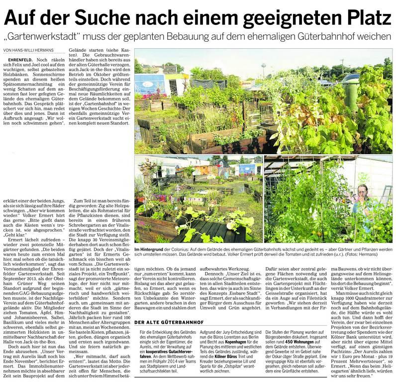 Artikel über die Gartenwerkstadt vom 13. September 2016